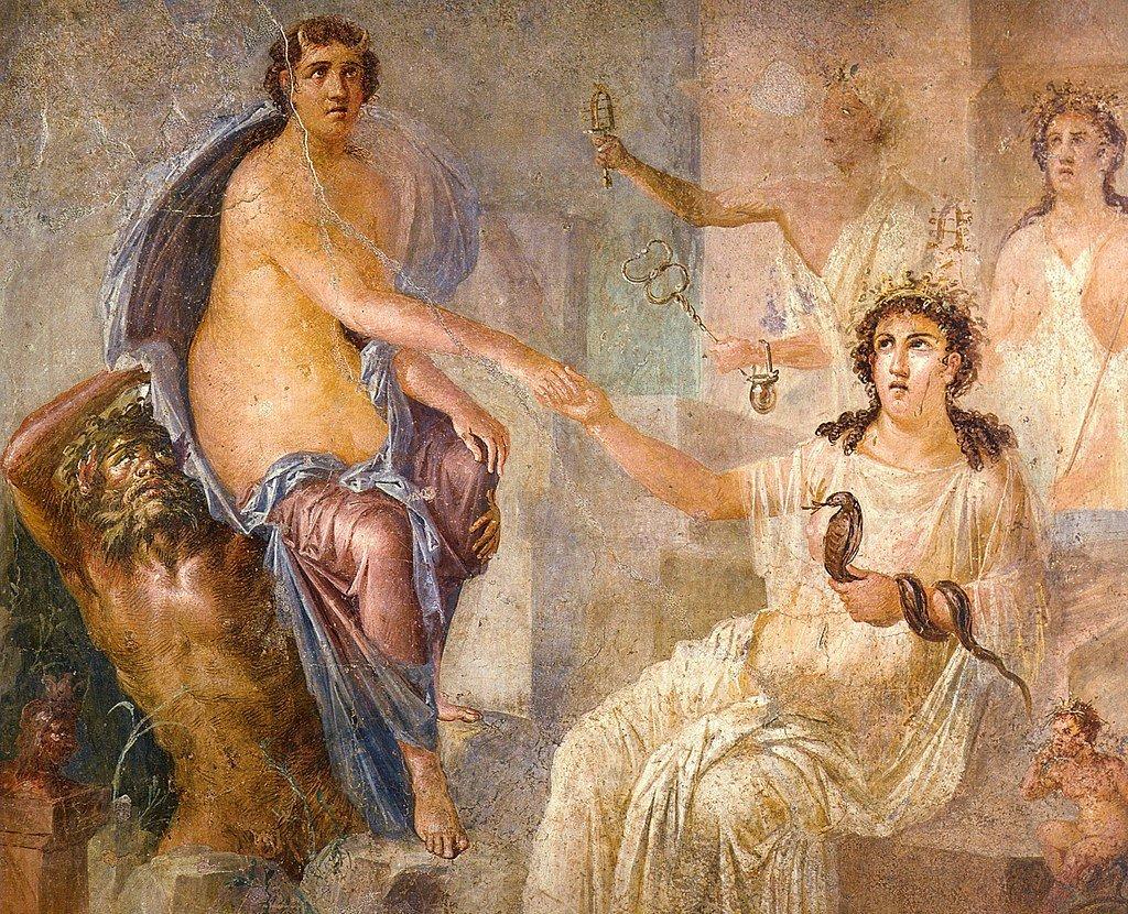 Io accueillie à Canope par Isis, fresque du temple d'Isis à Pompéi, 62-79, Musée archéologique de Naples